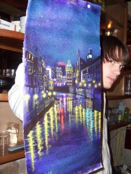 Night painting: amsterdam 4 by AaronLi-Hill