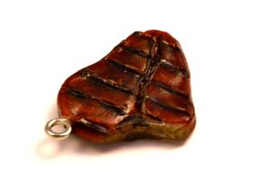 Polymer Clay Steak Charm by TooGoodToEat