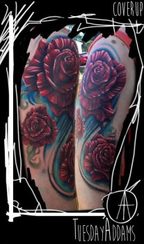 Rose Coverup Tattoo by TuesdayAddams