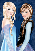 Frozen : Elsa and Anna by slimsassysarah