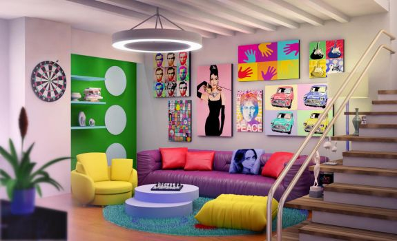 Pop art interior by Ultrarender