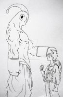Majin Buu and Luffy face off by TicoDrawing