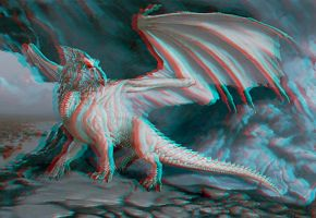 White Dragon 3D conversion Anaglyph Red Cyan by Fan2Relief3D