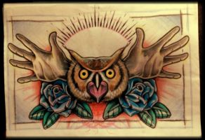 Owl with hand wings by 76Bev