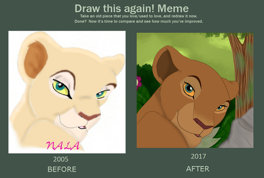 Adult Nala in the Jungle_Redraw_Before and After by SolitaryGrayWolf