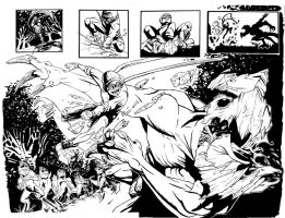 Isaac Vs. The Minions Double Page Spread Inks by justinprokowich
