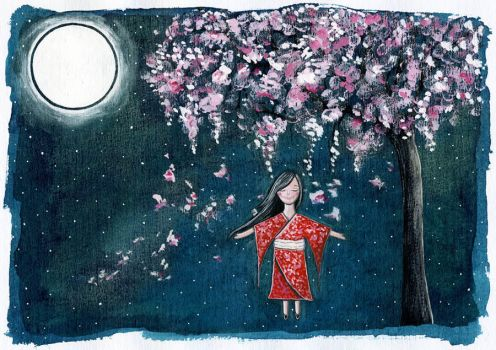cherryblossom dream- Adnil by childrensillustrator