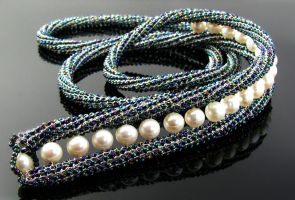 Wire knit necklace with pearls by CatsWire