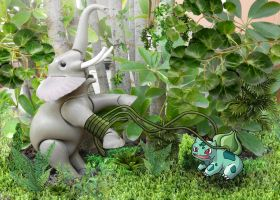 Bulbasaur Vs Elephant by SrMoro