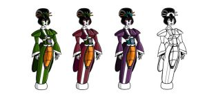 Cyber Geisha Decepticons by TheQueenOfManga