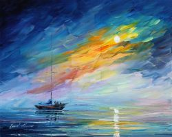 Foggy Sunset by Leonid Afremov by Leonidafremov