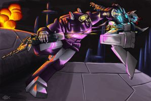 Shockwave vs Prowl by Koilungfish