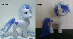 Shining armor hair fix with faux fur by Epicrainbowcrafts