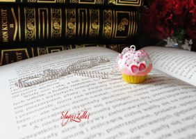 Polymer clay strawberry muffin necklace by Benia1991