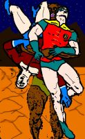 Robin and Aqualad carried by one cannibal by holybearhug