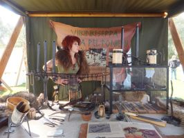 Medieval Faire (2) - Blacksmith's booth by GrinningGhoul