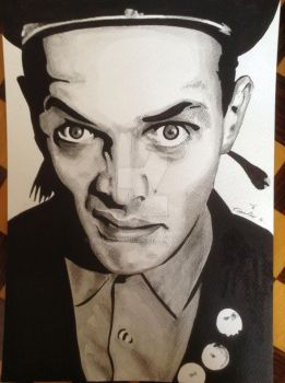 Rik Mayall drawing/ watercolour art the young ones by billyboyuk