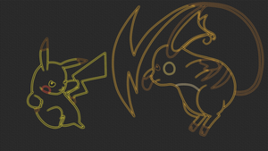 Pikachu Vs Raichu Lineart Neon Wallpaper by GT4tube