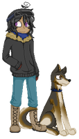 a doge and his owner by Alaskaaaa