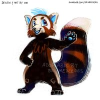 [ADOPTABLE - OPEN] Blue Red Panda by BriMercedes