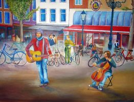 musicians in Amsterdam oil on canvas 80x60 cm by lardaspetros