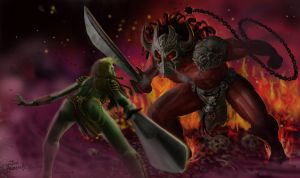 Elf Warrior vs Demon Lord by JonHrubesch