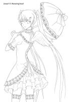 Gothic Lolita Line Art by WaveringHeart