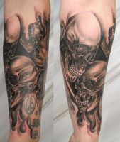 Armsleeve Skull Skulls Tattoo by 2Face-Tattoo