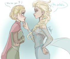 Elsa and the Ice Queen by ASAMESHII