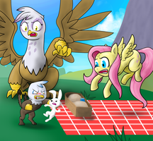 Picnick Fight ft. Fluttershy and... Gilda? by Darkonix