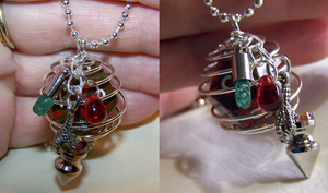 RPG Bloodstone Dice with Dragon Claw Pendant by mymysticgems