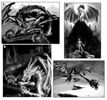 Dragon Battle Thumbnail Sketches by leapingloophead