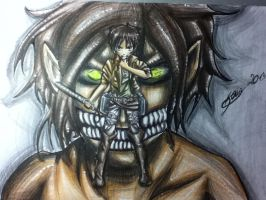 Shingeki no Kyojin Eren Jaeger ( color versioin) by DarkBlueCloud