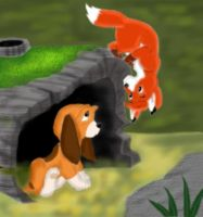 Fox and the Hound by SolitaryGrayWolf