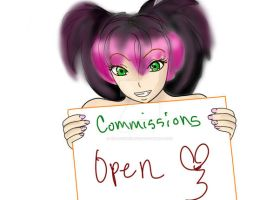 Commission sign .:OPEN:. by HelloSunniLove