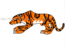 Colored Tribal Tiger by BloodStarWolf