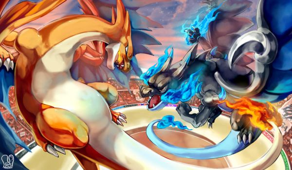 Mega Charizard X vs Mega Charizard Y by Sa-Dui