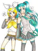 VOCALOID - Rin and Miku by Rukiszon