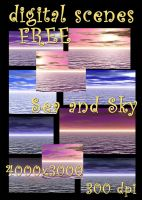 Sea and Sky, free backgrounds by KlaraKay