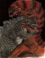 Godzilla vs Talaghan by MonsterKingOfKarmen