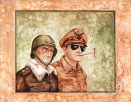Patton and MacArthur by Simkaye