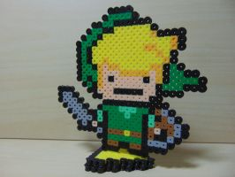 Little Link with Triforce Piece Stand Perler by Perler-Pop