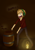 Pewdiepew and his friend, barrel. by Pilocre