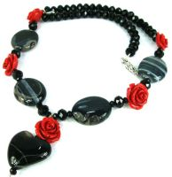 Black Heart and Red Rose Necklace by SacredJourneyDesigns