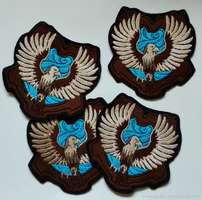 Embroidered HP Ravenclaw crests by goiku