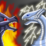 Blue-Eyes vs Red-Eyes by DragonessBlue