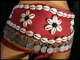 Cowrie and Coin Burgundy Belt by BacktoEarthCreations