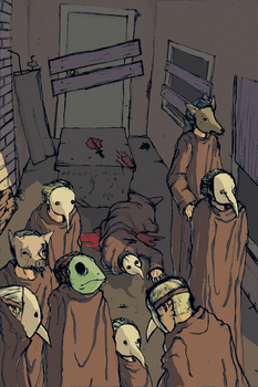 A Walk of Masks, Colored by seene