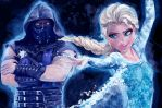Elsa Sub zero ultimate tag team by MightyTimArt-IDale