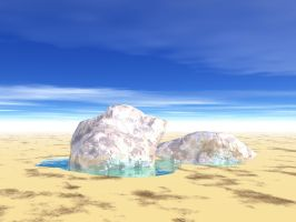 Icecubes in the desert Sand by FiendishMax